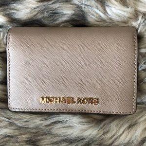 Michael Kors grayeige saffiano leather wallet